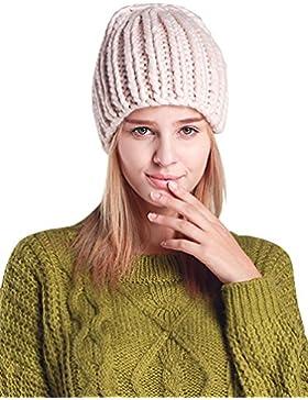 Cable Knit Gorro de Punto Esquí Cálido Espesado Sombreros para Mujeres