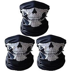 3 x Premium multifunción Bandana | Braga | | paño de manguera | Pañuelo con calavera de esqueleto Máscaras para moto bicicleta Esquí Paintball Gamer Carnaval Disfraz Calavera Máscara … (3 white)
