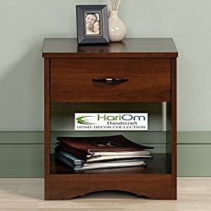 Hariom Handicraft Bedside Table for Bedroom, End Table, with 1 Drawer and Shelf Storage, Honey Teak Brown