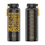 Artoid Mode 1500ml Motivational Fitness Workout Sports Water Bottle with Time Marker and Measurements | Goal Marked Times for Hydration Tracking by Hour, BPA Free and Leak Proof