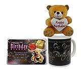 Birthday Gift Combo - Birthday Soft Teddy, Birthday Quotation & Coffee Mug