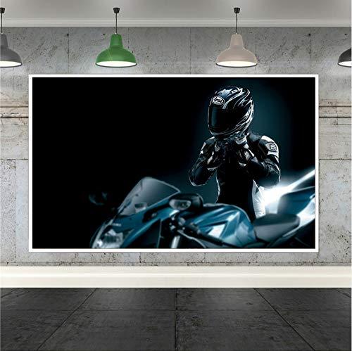 gaowei Pop Art Racer Casco Moto Sport Canvas Immagini a Parete per Soggiorno Arredamento Camera da Letto Decorazione Domestica Poster Moderno Stampe 60x80cm Cornice