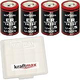 4x Kraftmax LS 14250 - 1/2 AA / Mignon - Lithium 3,6V Batterie LS14250 / Li-SOCl2 Batterien mit extrem hoher Energiedichte - geliefert in hochwertiger Kraftmax Batteriebox