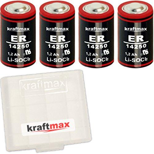 4x Kraftmax LS 14250 - 1/2 AA / Mignon - Lithium 3,6V Batterie LS14250 / Li-SOCl2 Hochleistungs- Batterien mit extrem hoher Energiedichte - in Batteriebox
