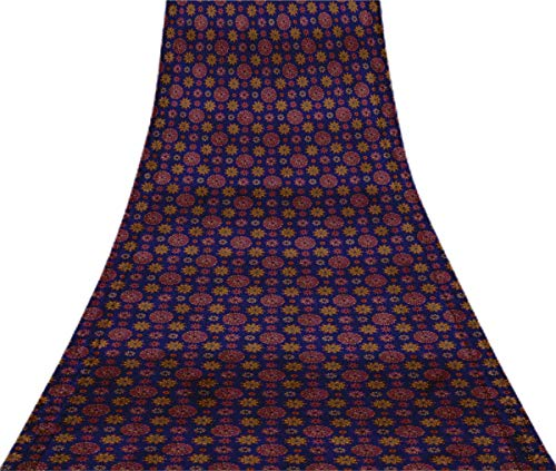 Svasti Multicolor Dot Mandala Weinlese-Silk Sari Royal Blue Schneiderei Refurbished Craft Fabric Saree 1 Yard Gebraucht Blue Silk Sari
