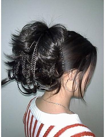 ZQ New dark brown bendable wires short hairpiece tiny braids