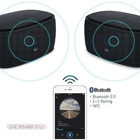 Xcellent Global Altavoz Inteligente para Música 1+1 Conexión Bluetooth NFC Inalambrica, Potente Sonido Dual 3D Surround, Stereo, Audio de Alta Definición, Ultra Bajos, Manos Libres AUX TF, Ideal para Padres Novios Regalo de Navidad (Negro)