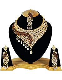 Bollywood Ethnic Designer Party Wear Gold Plated Necklace Set Jewelry Earrings Tikka