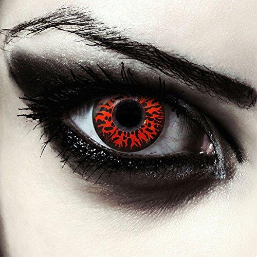 "Designlenses, Dos lentillas de color rojo para Halloween monstruo disfraz lentes sin dioprtías/corregir + gratis caso de lente ""Red Fear"""