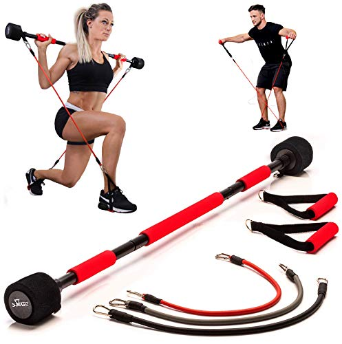 Body Trainer Fitnessgerät für Zuhause - Heimtrainer Krafttraining Trainingsbänder Ganzkörper Trainingsgerät Sportgerät für Frauen & Männer + Fitness Workout EBOOK (Unter 170cm)