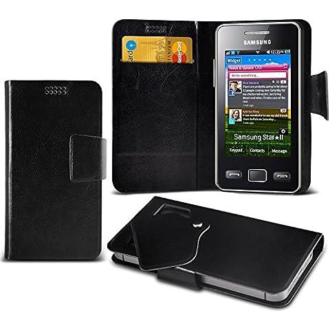 (Black) Samsung S5260 Star II Mega sottile Protezione in ecopelle ventosa Custodia a portafoglio Pelle Copertura Caso Cover con carta di credito/debito Slot Aventus