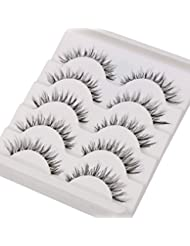 TianQin WY 5 Pairs Natural Look Fake Eyelashes Handmade Messy Natural 3D Cross Fashion False Eyelashes Extension For Makeup (Black 5 Pairs)