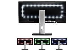 Luz de Fondo en Color Luminoodle para TV -Mando a Distancia & Controlador Incorporado - Tira Adhesiva de luz Ambiente LED RGB con alimentación USB para Pantallas Planas LCD y monitores PC (2 Metros)