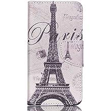 Guran® Pintado Funda de Cuero Para Acer Liquid Z330 Smartphone Tirón de la Cubierta de la Función de Ranura Tarjetas y Efectivo Caso-Torre Eiffel