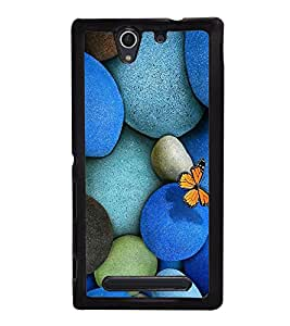 Vizagbeats Blue Color Pebbles Back Case Cover For Sony Xperia C4