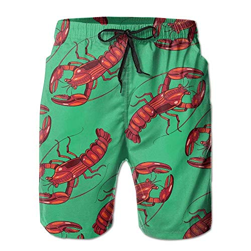 Desing shop Quick Dry Beach Shorts Red Lobster Green Painting Surfing Trunks Surf Board Pants with Pockets for Men Large