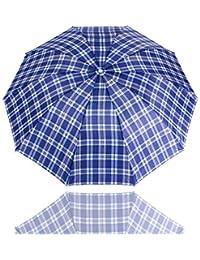 FUWUX Paraguas a Cuadros, Lluvia y Lluvia, Paraguas Plegable, Paraguas de Negocios para