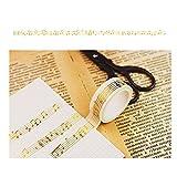 Leegoal Gold Folie Washi Tape, farbige Masker Tape 5m Deko Tape, dünn Washi Tape ideal für Heimwerker, Handwerk, Geschenk, Scrapbook Music