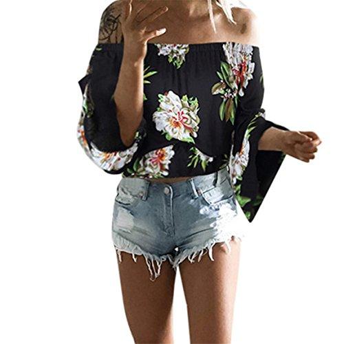 Moonuy Frauen Slash Neck Bluse, Damen Langarm-Pullover 2018 Fashion Summer Off Schulter Lose T-Shirt Freizeithemd Vintage Printing Stilvolle Kleidung (EU 40/Asien XL, Schwarz)