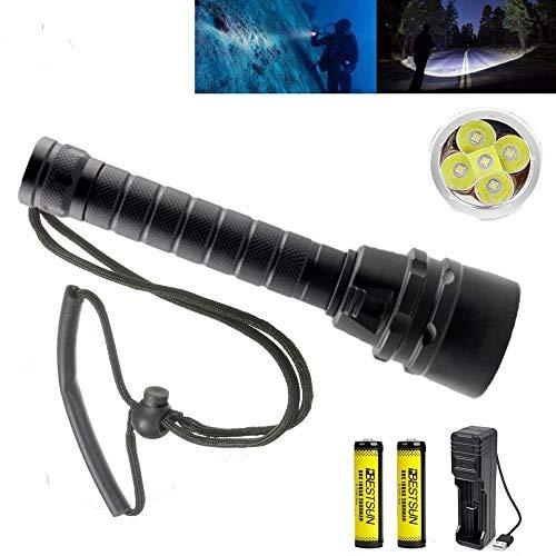 Unterwasser Taschenlampe, Super Hell 10000 Lumen 5x XM-L2 LEDs Tauchen Taschenlampe Unterwasser 100m Submarine Licht für Tauchsportler mit wiederaufladbare Batterien und Ladegerät