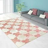 Teppich Modern Designer Wohnzimmer Schlafzimmer Läufer Inspiration Grid Vintage Pastell Rosa Blau NEU, Größe in cm:80 x 150 cm;Farbe:Pink