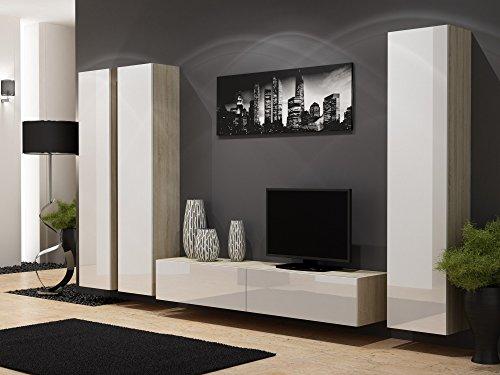 Beleuchtete Anbauwand für das Wohnzimmer, Hochglanz