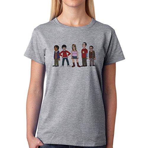 The Big Bang Theory Animated Cast Damen T-Shirt Grau