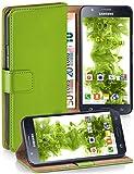 moex Samsung Galaxy J5 (2015) | Hülle Grün mit Karten-Fach 360° Book Klapp-Hülle Handytasche Kunst-Leder Handyhülle für Samsu