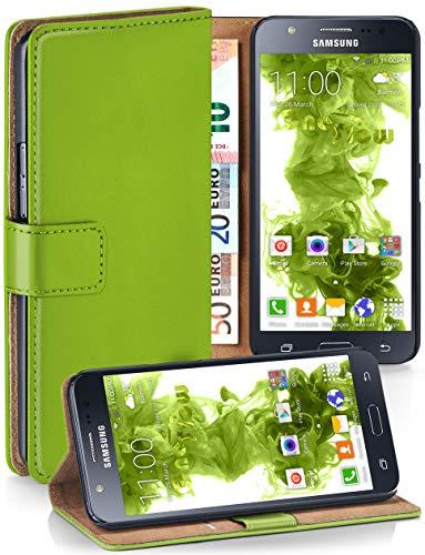 moex® Booklet mit Flip Funktion [360 Grad Voll-Schutz] für Samsung Galaxy J5 (2015) | Geldfach und Kartenfach + Stand-Funktion und Magnet-Verschluss, Grün