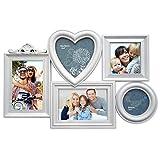 PrimoLiving Bildergalerie P-1070 in 3D Optik weiß für 5 Fotos Herz Bilderrahmen