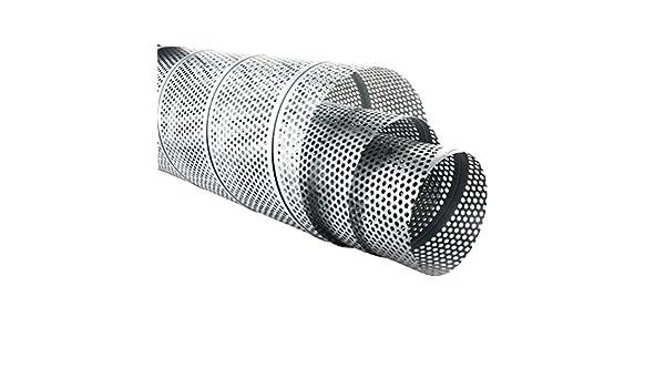 t/ôle perfor/ée de 5 mm  /Ø 80 x /Ø 200 mm Tube en t/ôle agraf/ée perfor/ée galvanis/é 1 m de long MKK