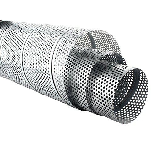 MKK - Wickelfalzrohr Perforiert Verzinkt 1 m Lang 5 mm Lochblech Ø 80 x Ø 200 mm 80 mm (Rohr Verzinktem 1x5)