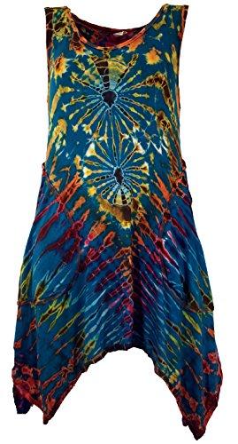 Guru-Shop Batik Minikleid, Boho Pixi Kleid, Damen, Petrol, Synthetisch, Size:38, Kurze Kleider Alternative Bekleidung