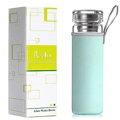 Reeho® Tragbare 510ml Sportflasche Trinkflasche aus Glas, BPA-frei Wasserflasche Glas, Borosilikat Glasflasche Mit Nylon Tasche und Edelstahlfilter