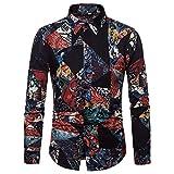 UJUNAOR Herren Shirt Persönlichkeit Top Herbst Casual Langarm Gedruckt Revers Bluse Baumwollmischung(Schwarz,EU XS/CN S)