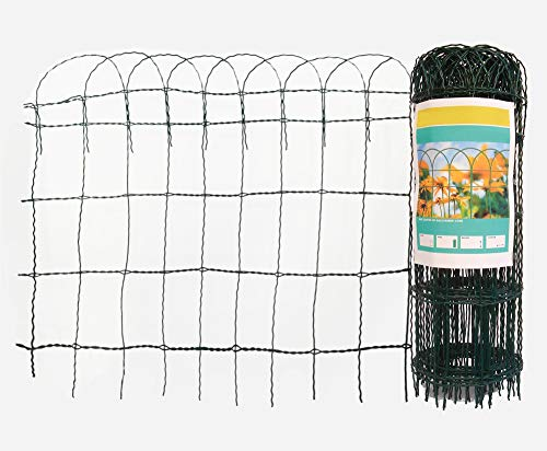 Arvotec Deko Gitterzaun, grün, Maschung: H x L: 65 cm x 10 m - 9 x 15 cm - aus beschichtetem Stahldraht - Dekozaun für Ihren Garten - einfach in den Boden stecken