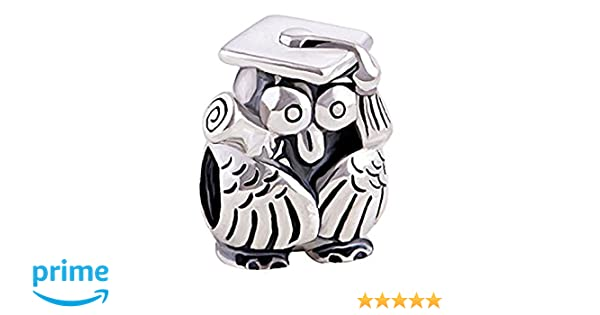 Graduation Owl with Scroll - Sterling Silver Charm Bracelet Bead