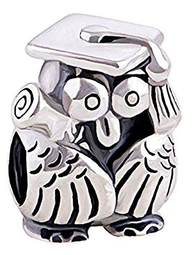 Charm-Perle Eule, mit Absolventenkappe, Charm-Perle, 925erSterling-Silber–Für Pandora, Biagi und Troll etc.