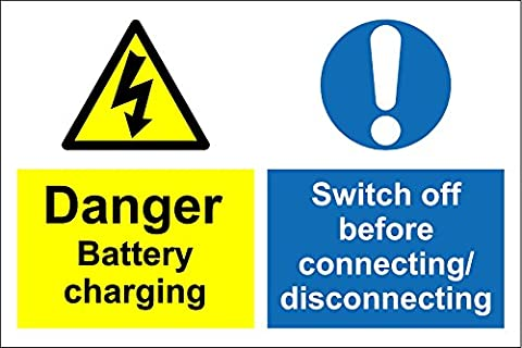 Shop warehouse signs Danger battery charging swithch off before connecting