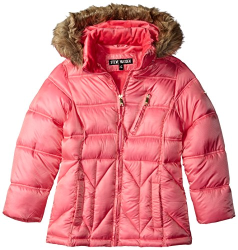 Steve Madden Little Girls' Bubble Jacket With Faux fur Trimmed Hood, Coral Pink, 4