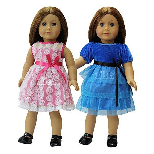 ZITA ELEMENT PACK # 2 Kleid Kostüme Kleider Rock für American Girl Doll 45-46cm Götz Puppen und andere 18 Zoll Puppe Kleidung-Rosa Rose Weiß & Himmel Blau Outfit XMAS (Rosa Kostüme Girl Super)