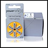 Power One Hearing Aid Battery Size 10 -6 Pcs
