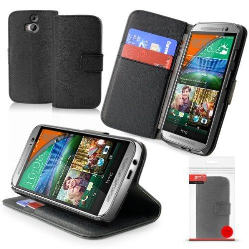 Orzly® - HTC ONE MINI (2014) Multi-Function Wallet Stand Case - SCHUTZHÜLLE mit integrierte BRIEFTASCHE + STAND - Flip Stil Fall / Tasche / Handytasche in SCHWARZ Leder Effekt mit Magnetischen Deckel - Hülle Entwurf exklusiv für Neuest Modell der HTC ONE MINI SmartPhone / Mobille Handy (Alias: HTC ONE M8 Mini / All New 2014 HTC ONE MINI / HTC ONE MINI 2 / v2 / etc.) (Neueste Htc One M8-fall)