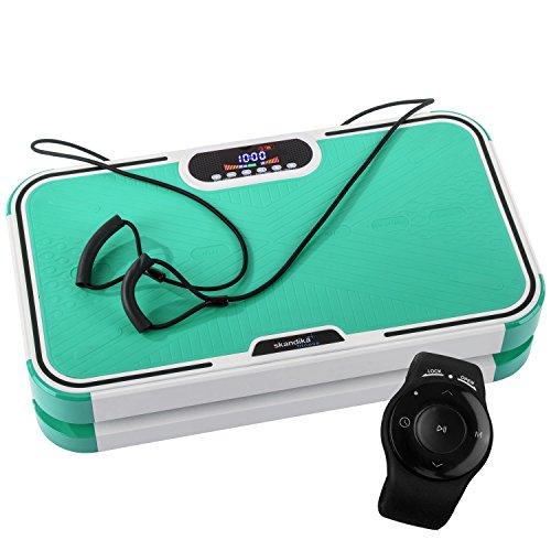 skandika 900 Plus Vibrationsplatte, 2 Kraftvolle Motoren mit 3D Wipp Vibrations, 120 Intensitätsstufen, Bluetooth-Musik, Trainingsbänder und Fernbedienung und A1 Übungsposter, Grün