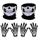 2 Sets Squelette Gant de Halloween pour Costumes Gant