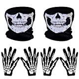 2 Set White Skeleton Gloves and Skull Face Mask Ghost Bones for Adult Halloween Dance Party Costume