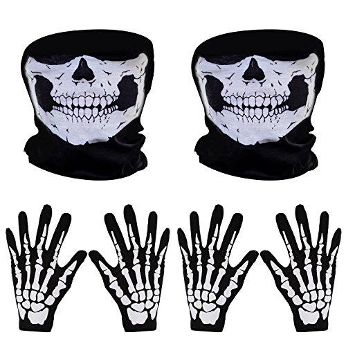 Pangda 2 Set Weiß Skelett Handschuhe und Schädel Gesichtsmaske Geist Skelett für Erwachsene Halloween Tanzen Party Kostüm
