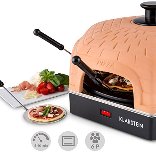 Klarstein Capric Kotto Mini Pizza/Oven Raclette for 6 People (1200W, Removable 30cm Baking Tray, Quick Preparation Time of 5-10min)