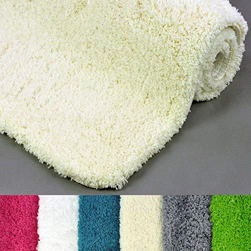 WohnDirect sehr Flauschige Badematte - Rutschfester Badteppich - Waschbar, Microfaser, Duschvorleger, Badezimmerteppich - 60x100cm - Farbe: Creme (Wc-creme-farbe)