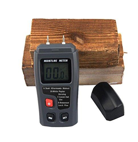 JOYOOO Digital Moisture Meter Detector Tester with Digital LCD Display - 2 Pins Sensor, 4 Calibrated Wood Groups for Selecting